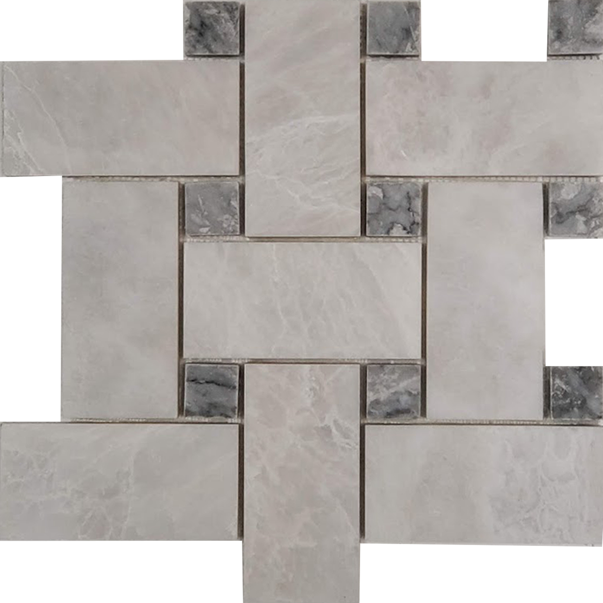 Big Basketweave Mosaic Alaska White With Grey Dot Marble Polished