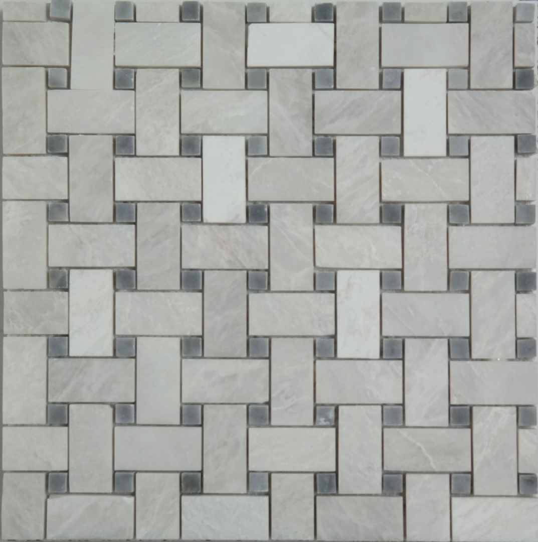 Basketweave Mosaic Alaska White With Grey Dot Marble Polished