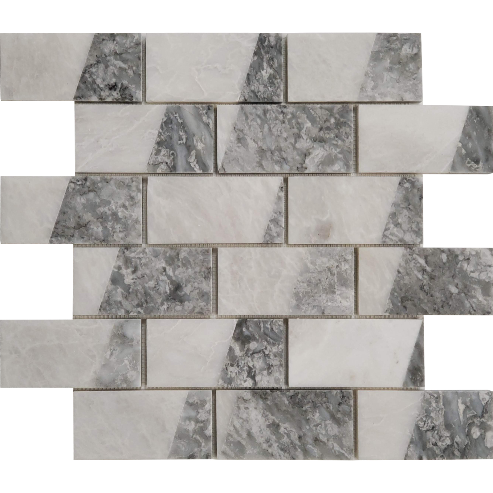 2x4 Parallel Bar Mosaic Alaska White With Chelsea Marble Polished