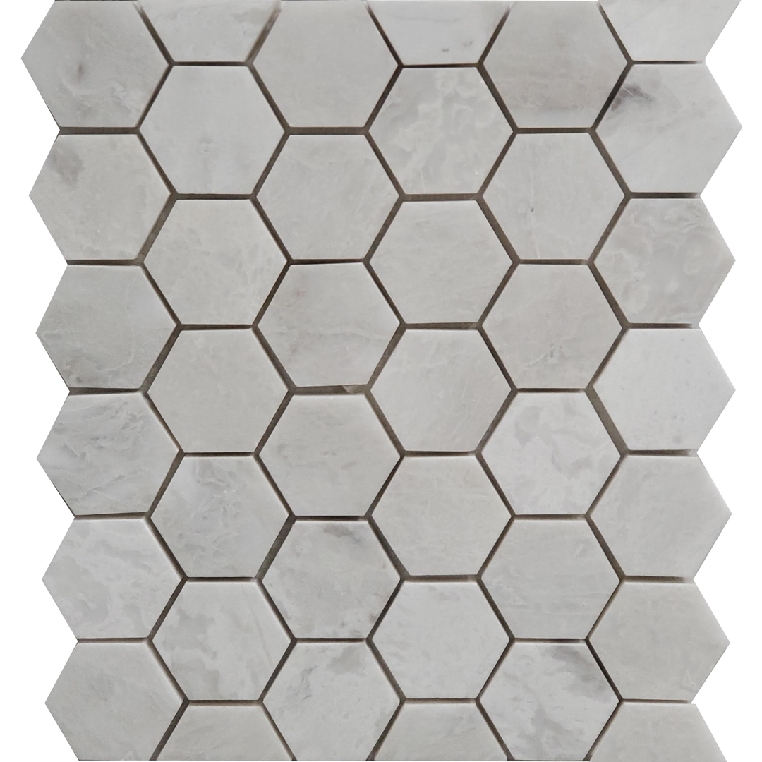 2 inch Hexagon Mosaic Alaska White Marble Polished