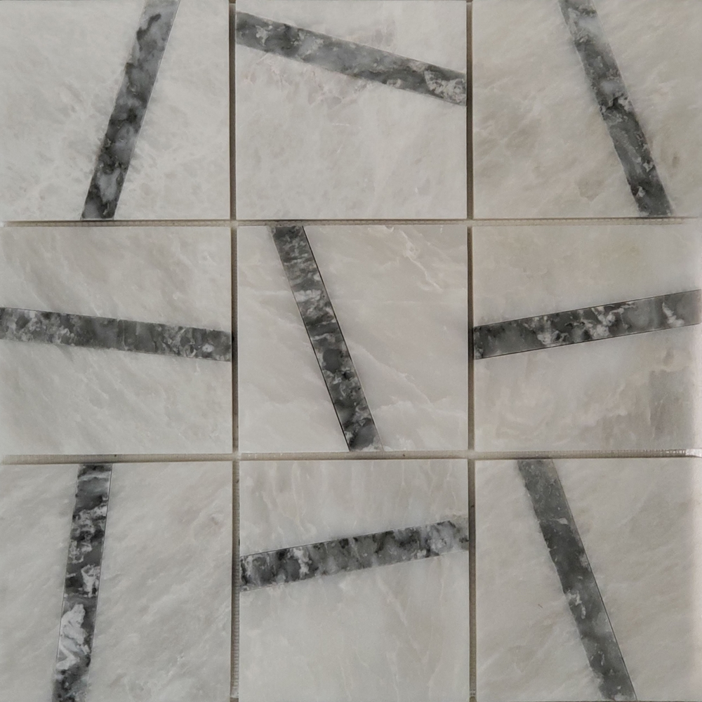 4x4 Cross Lines Mosaic Alaska White With Chelsea Marble Polished