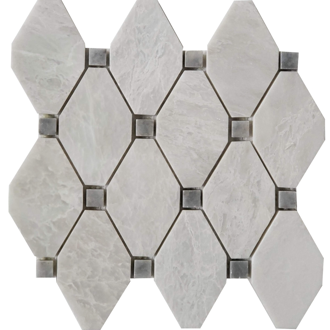 Diamond Mosaic Alaska White With Grey Dot Marble Polished