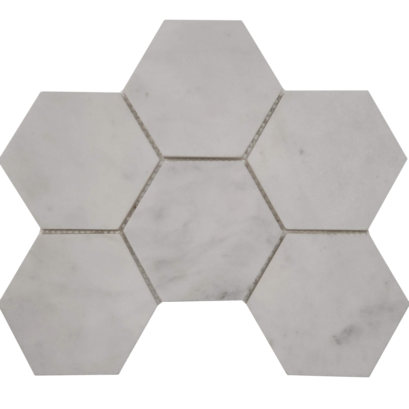 4 inch Hexagon Mosaic Bianco Imperial Marble Honed