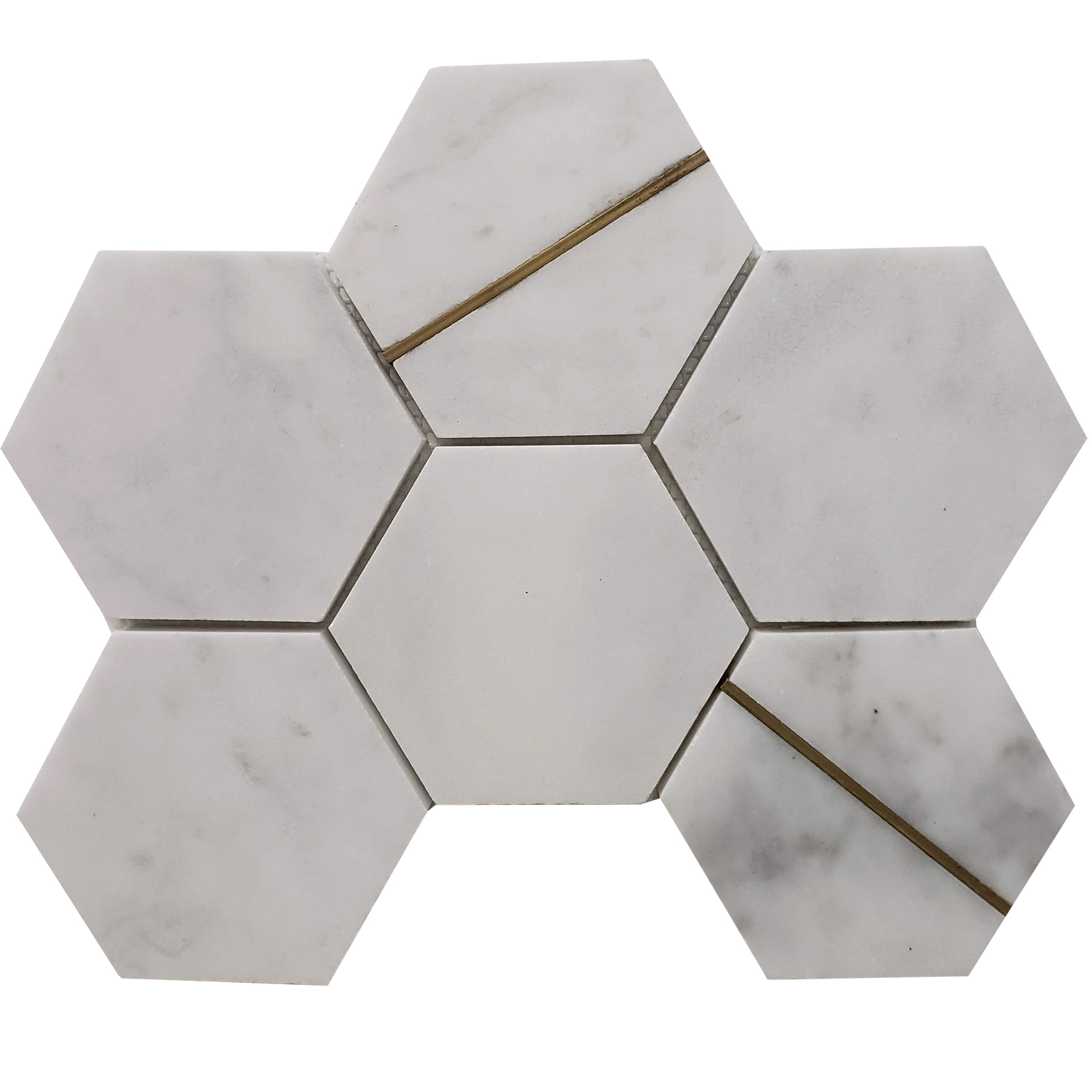 4 inch Hexagon Mosaic Bianco Imperial Marble With Brass Line Honed