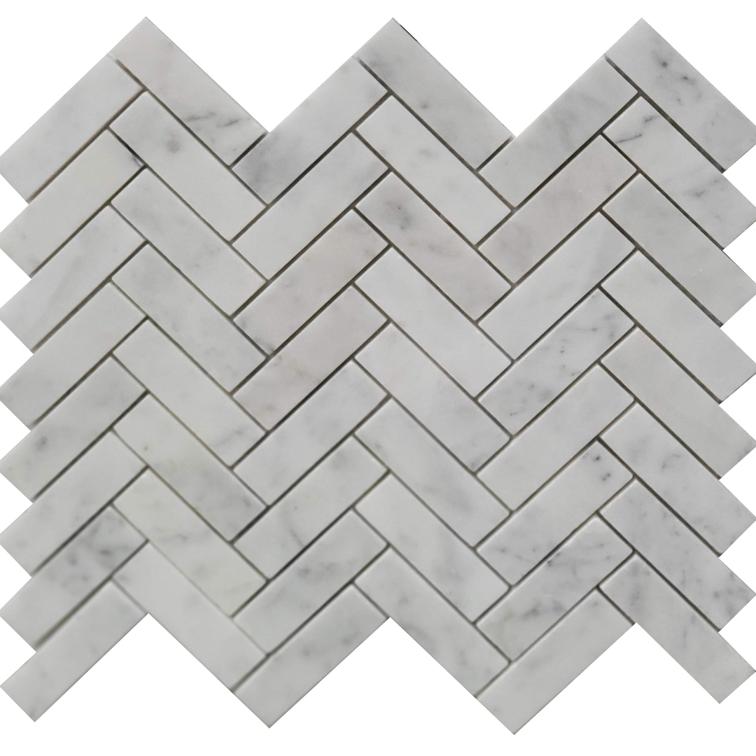 1x3 Herringbone Mosaic Bianco Imperial Marble Honed
