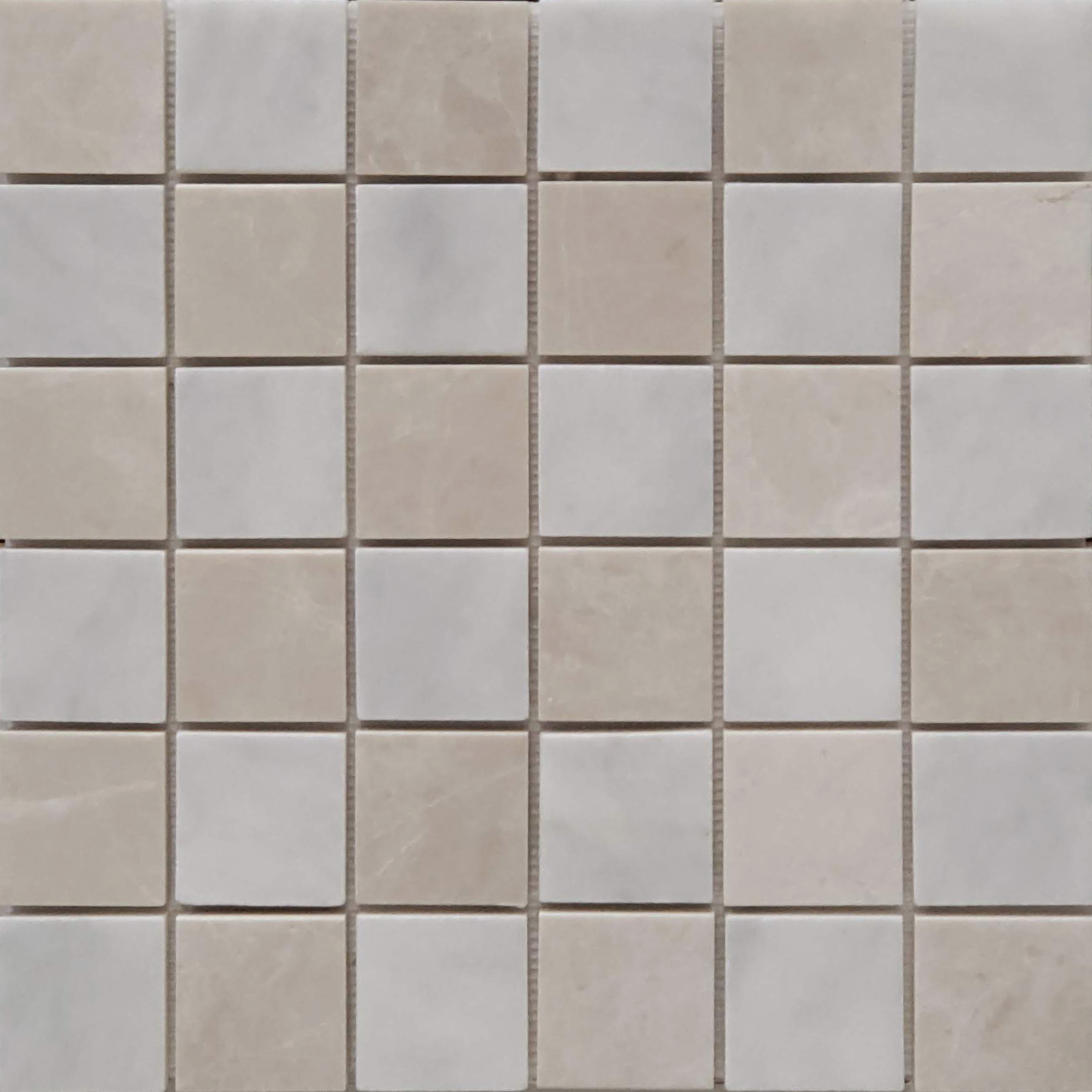 2x2 Checkerboard Mosaic Bianco Imperial Bottichino Marble Polished