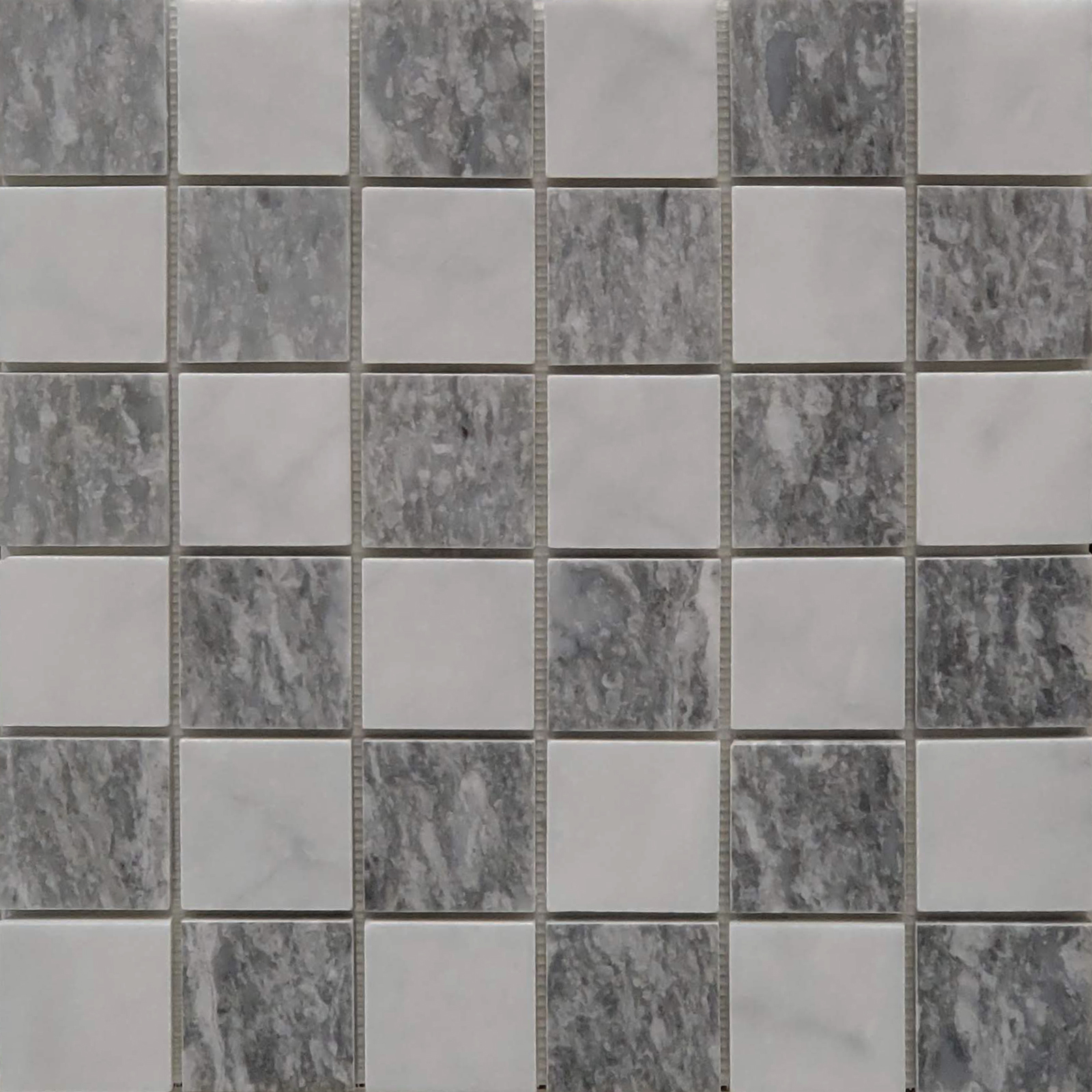 2x2 Checkerboard Mosaic Bianco Imperial Chelsea Grey Marble Polished