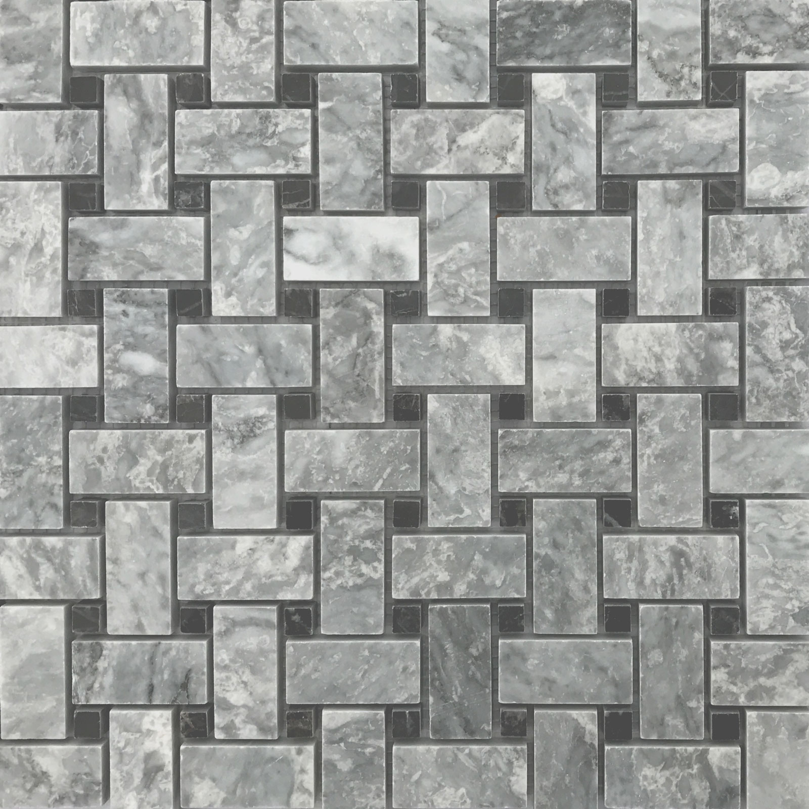 Basketweave Mosaic Chelsea Grey With Black Dot Marble Polished