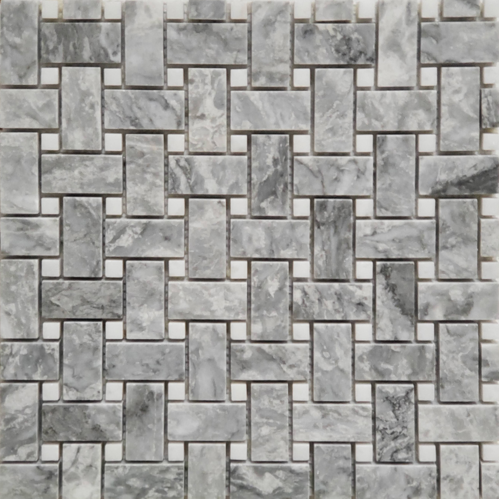 Basketweave Mosaic Chelsea Grey With White Dot Marble Polished