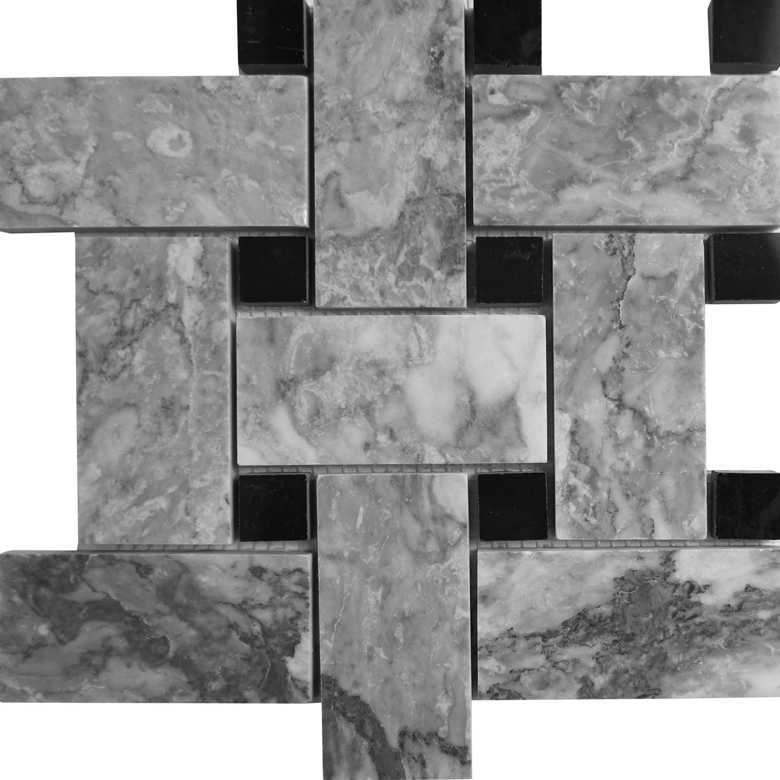 Big Basketweave Mosaic Chelsea Grey With Black Dot Marble Polished