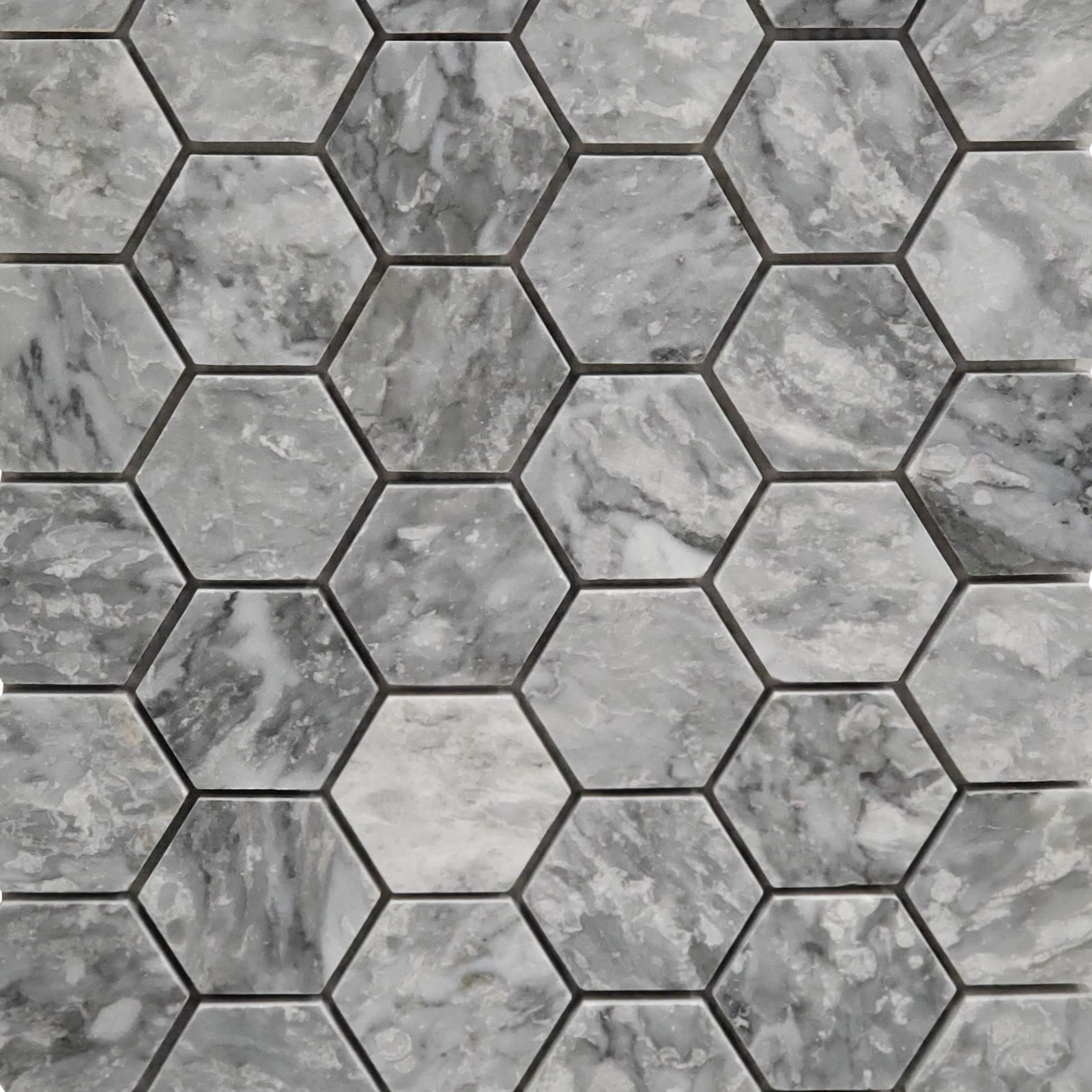 2 inch Hexagon Mosaic Chelsea Grey Marble Polished