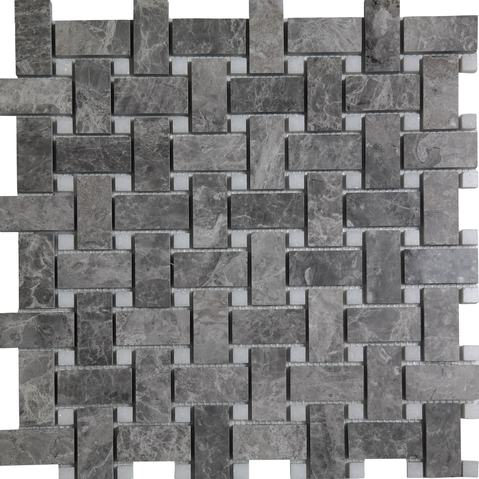 Basketweave Mosaic Cosmos Grey With White Dot Marble Polished