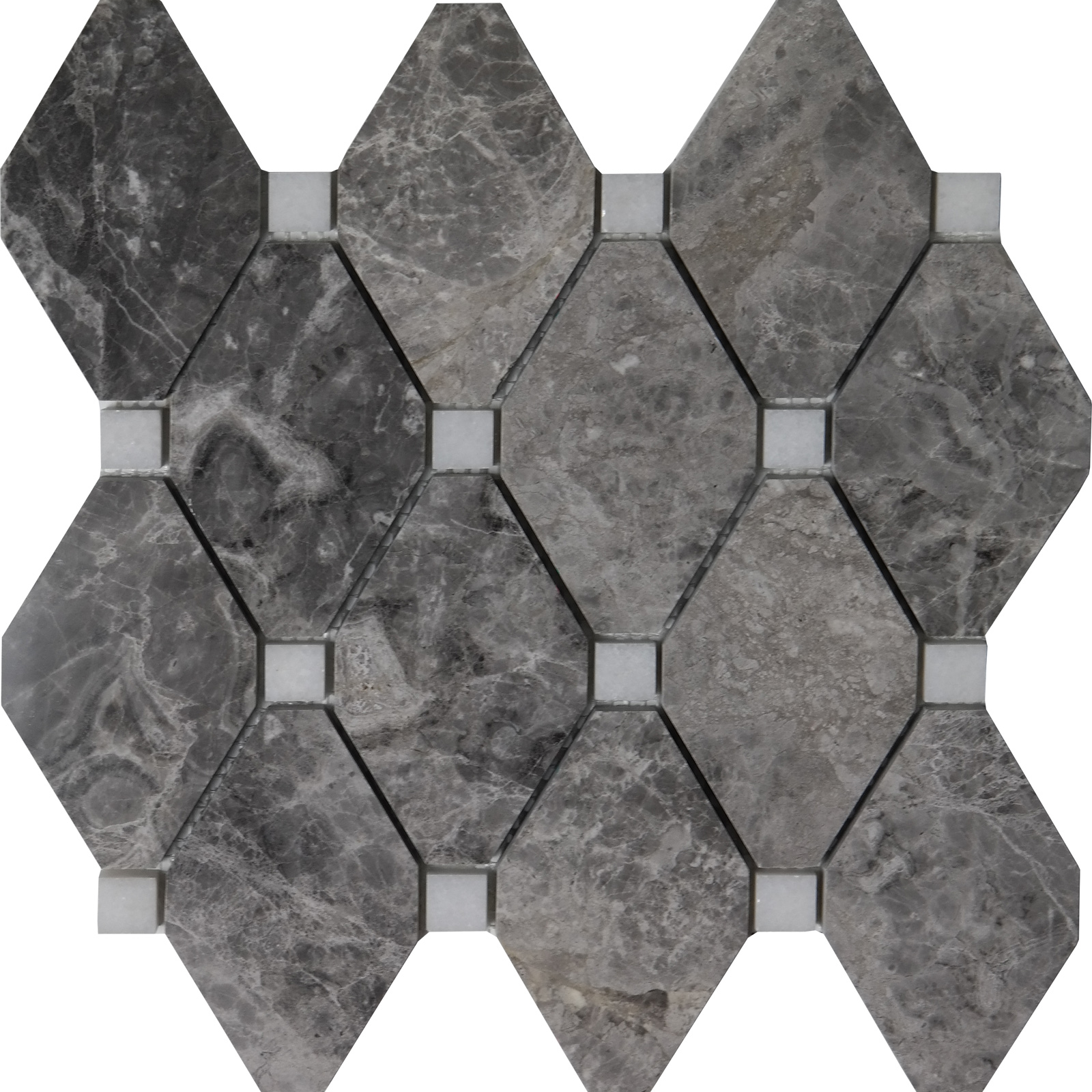 Diamond Mosaic Cosmos Grey With White Dot Marble Polished