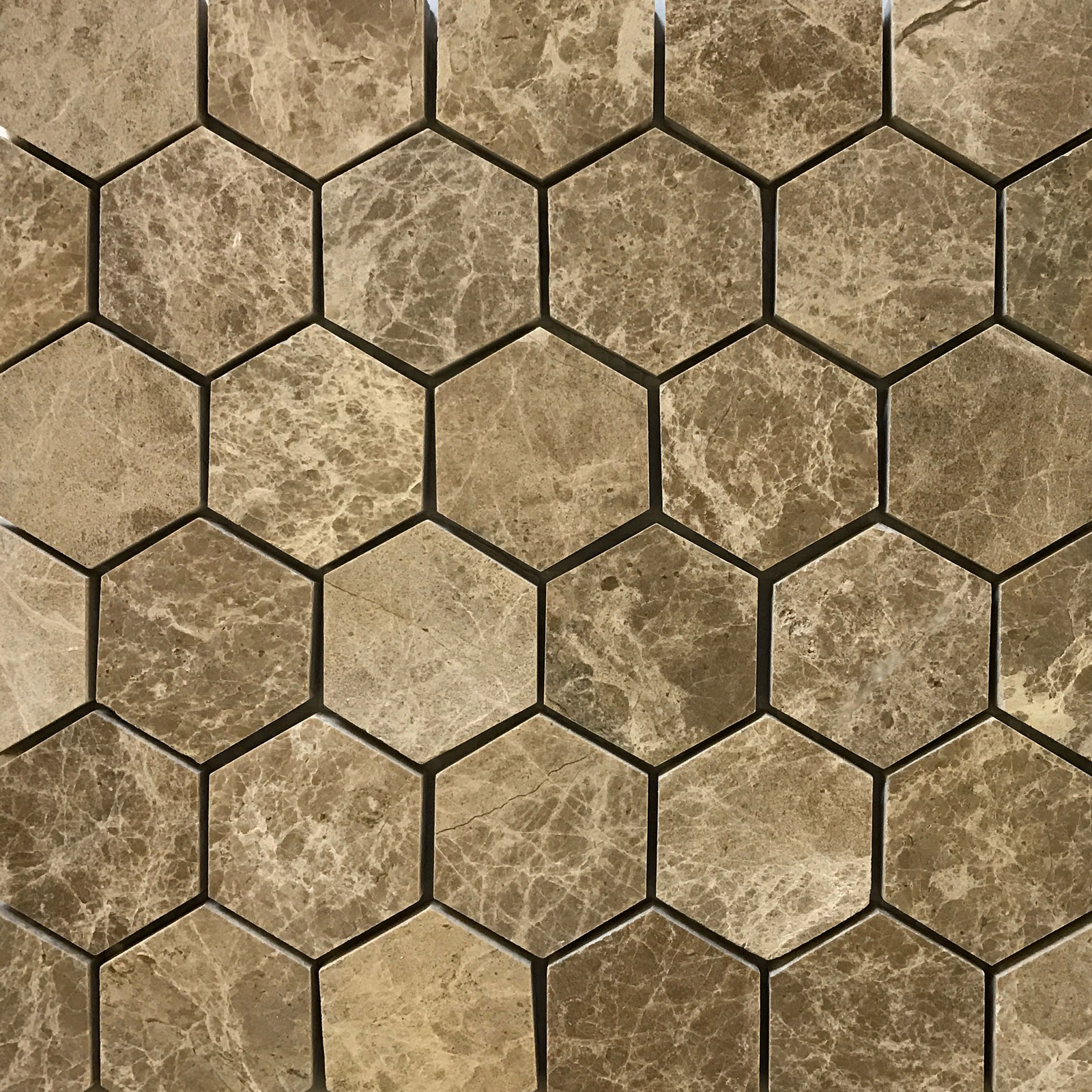 2 inch Hexagon Mosaic Light Emperador Marble Polished
