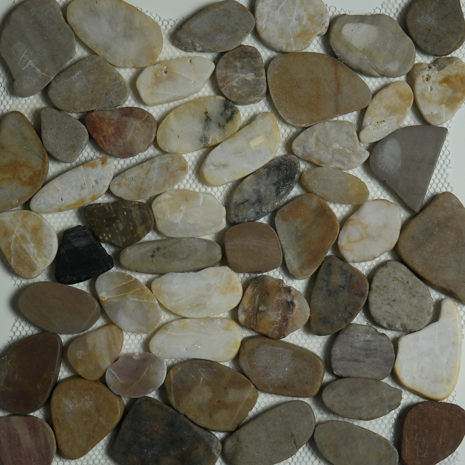 Sliced Pebble Mosaic Mixed Stone Polished