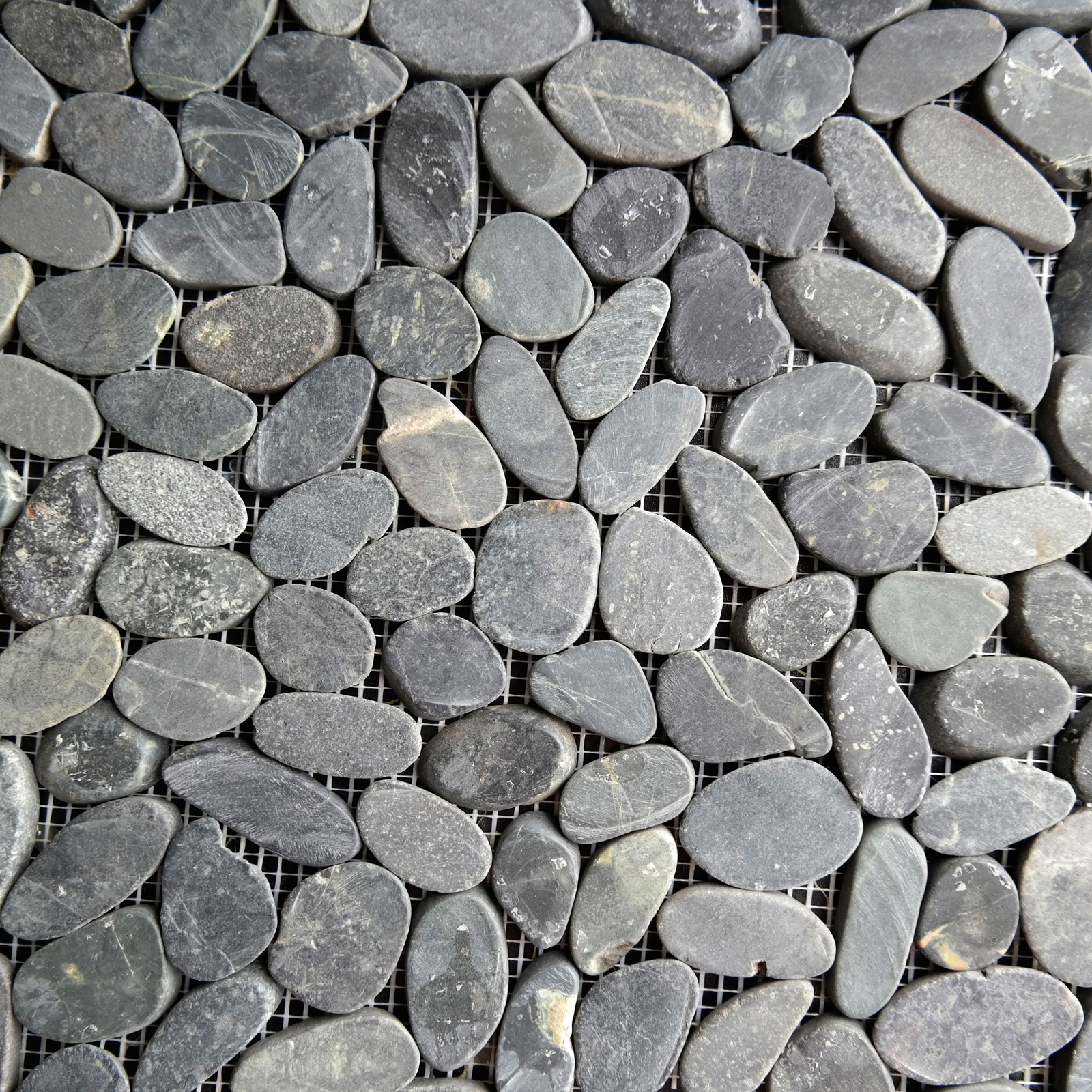 Sliced Pebble Mosaic Black Stone Honed