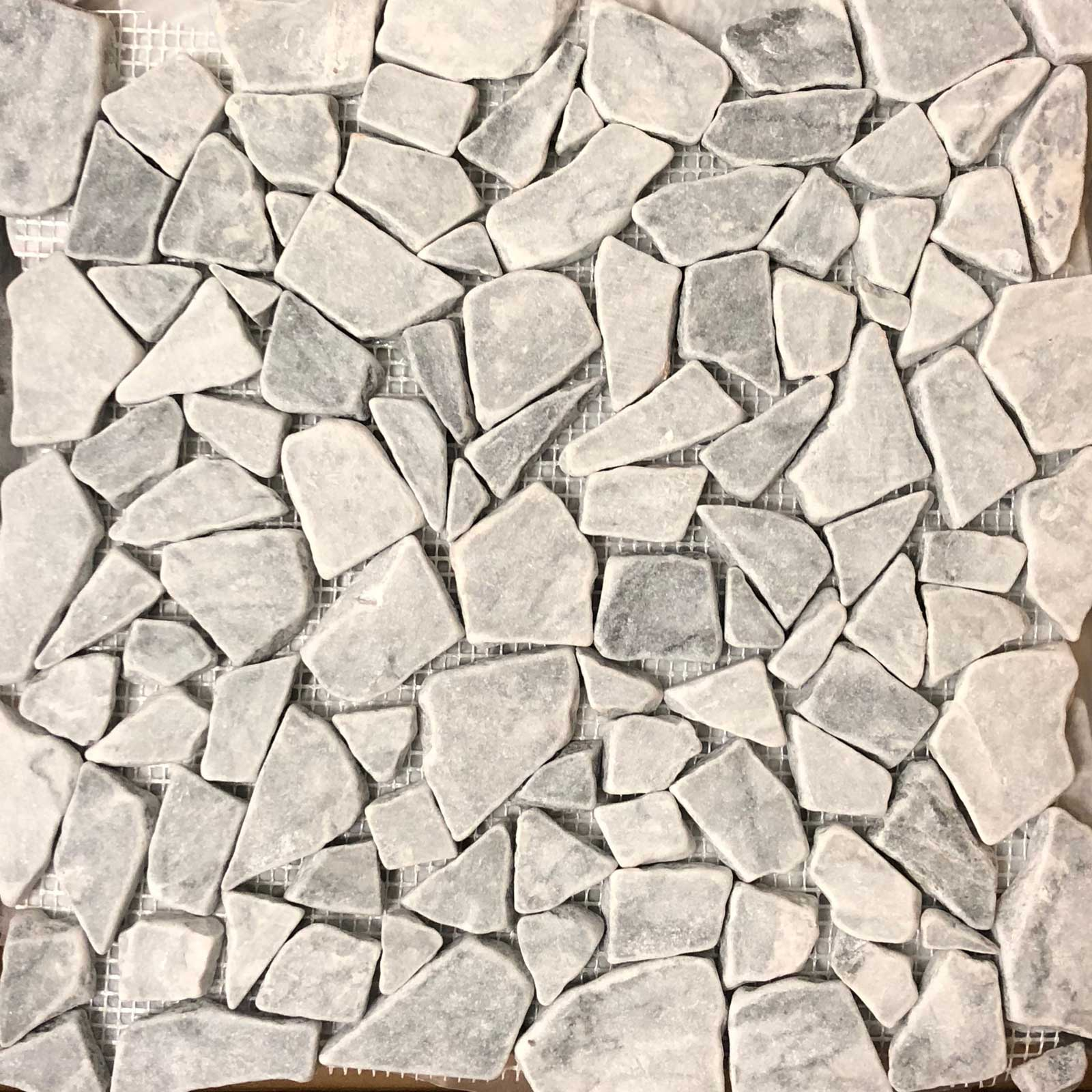 Flat Pebble Mosaic Chelsea Grey Marble Honed