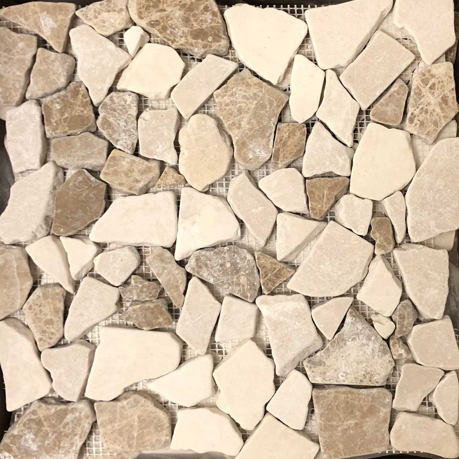 Flat Pebble Mosaic Bottichino With Light Emperador Marble Honed