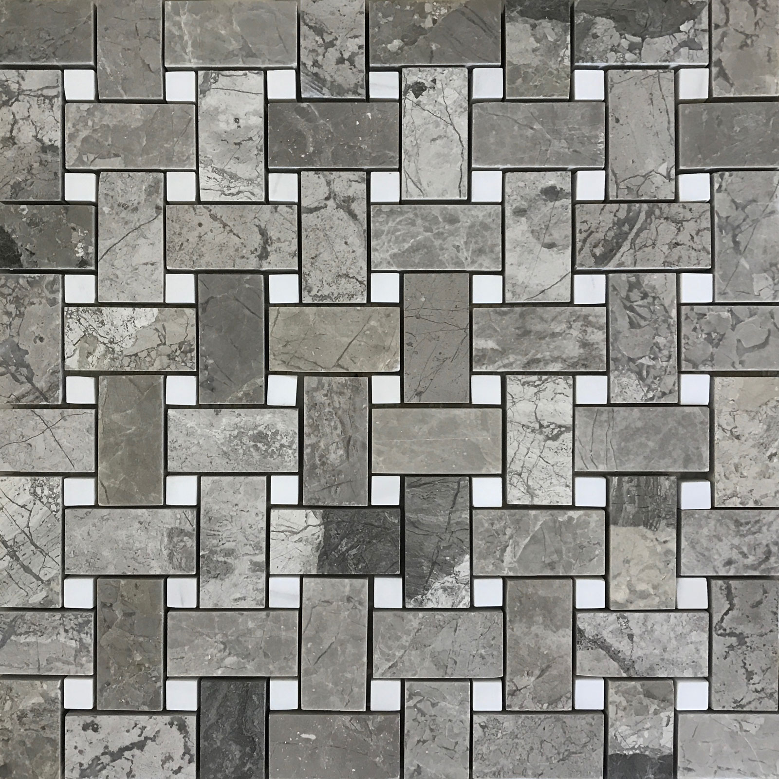 Basketweave Mosaic Silver Marlin With White Dot Marble Polished