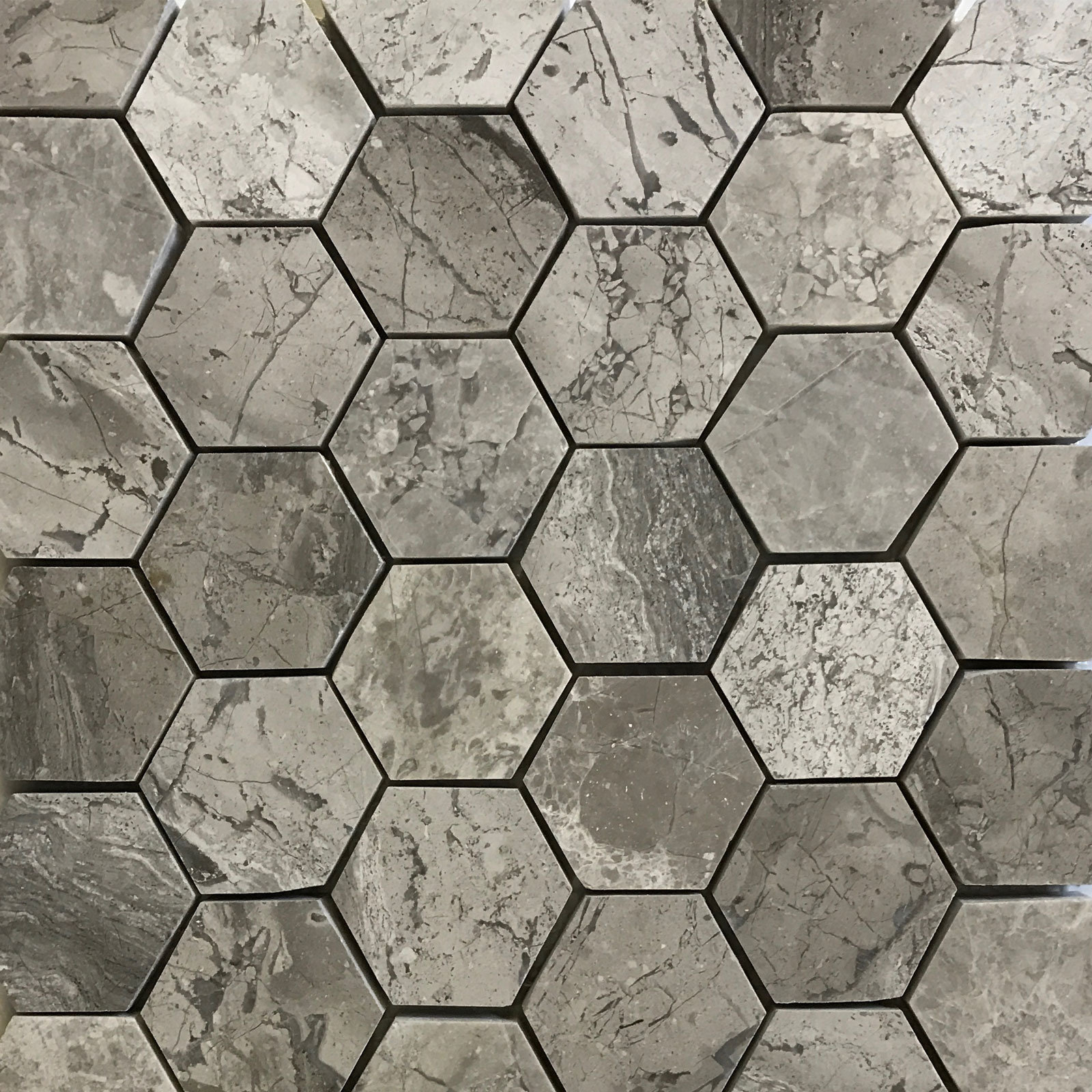 2 inch Hexagon Mosaic Silver Marlin Marble Polished