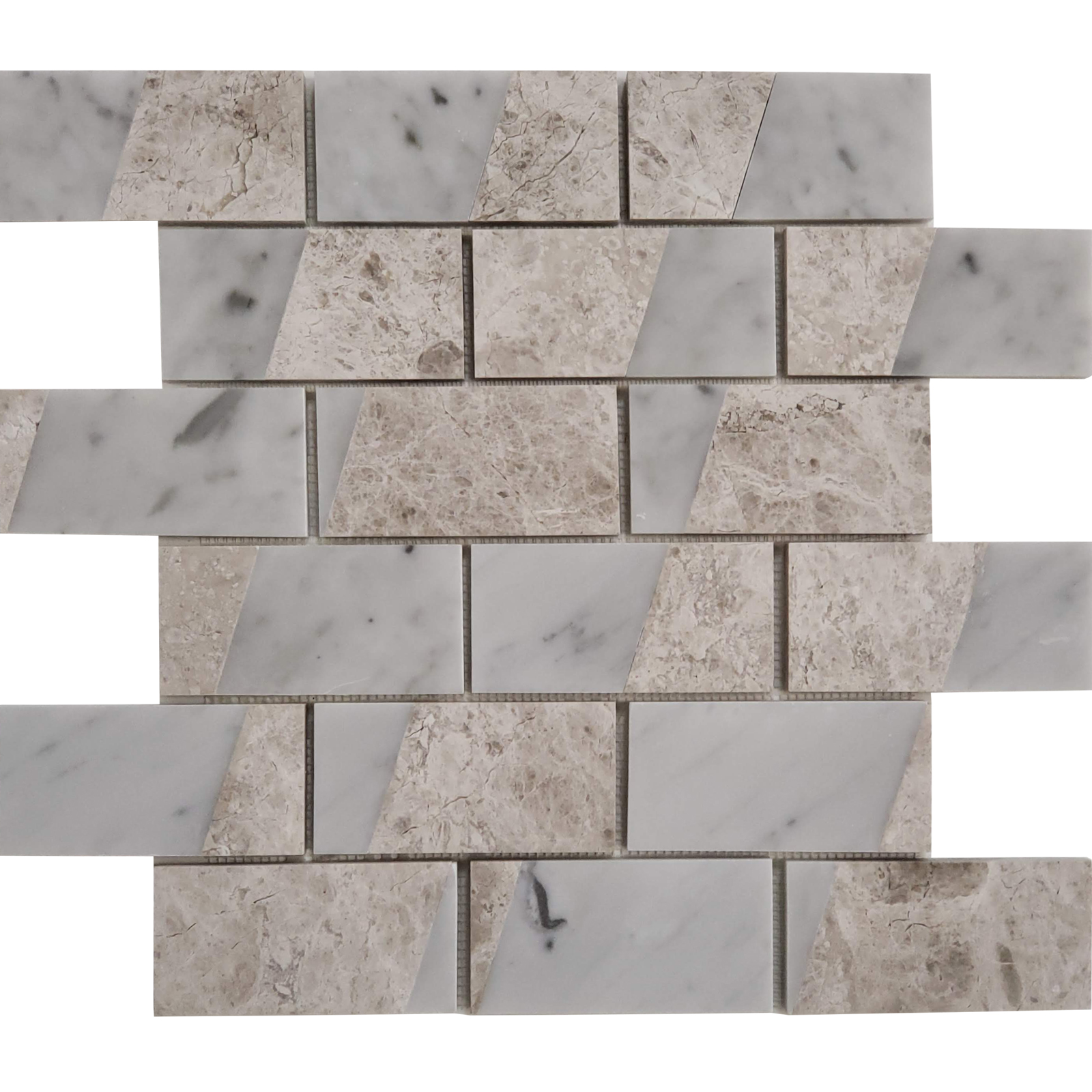2x4 Parallel Bar Mosaic Silver Shadow With Carrara Marble Polished