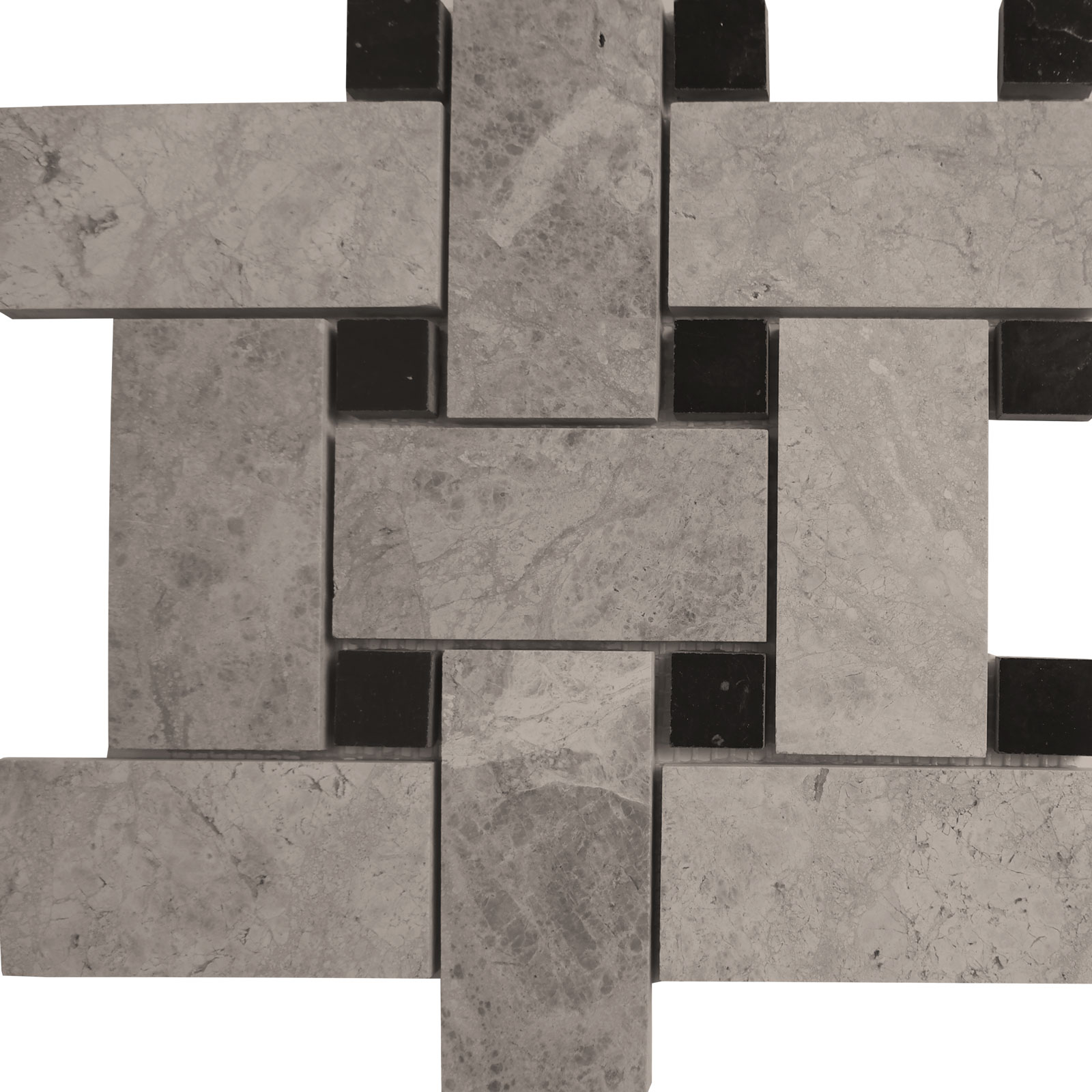 Big Basketweave Mosaic Silver Shadow With Black Dot Marble Polished