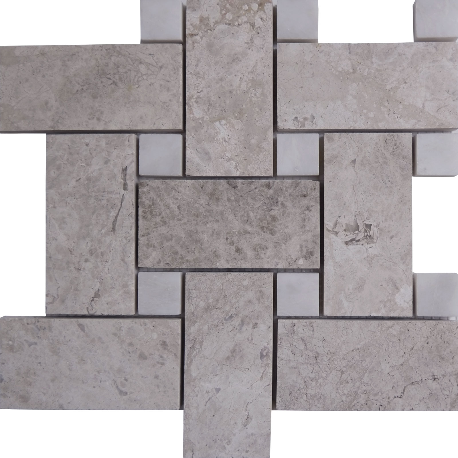 Big Basketweave Mosaic Silver Shadow With White Dot Marble Polished