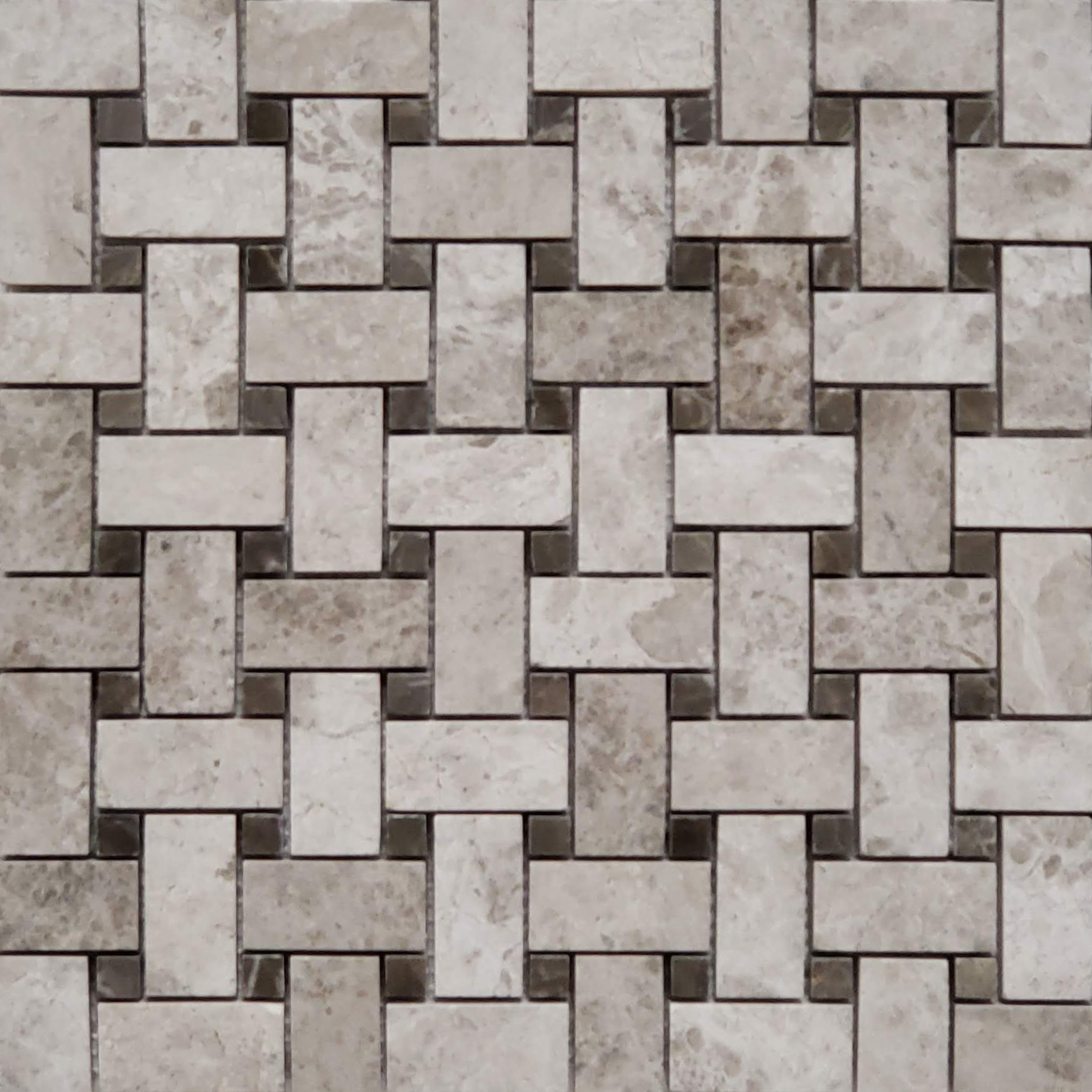 Basketweave Mosaic Silver Shadow With Dark Emperador Dot Marble Polished