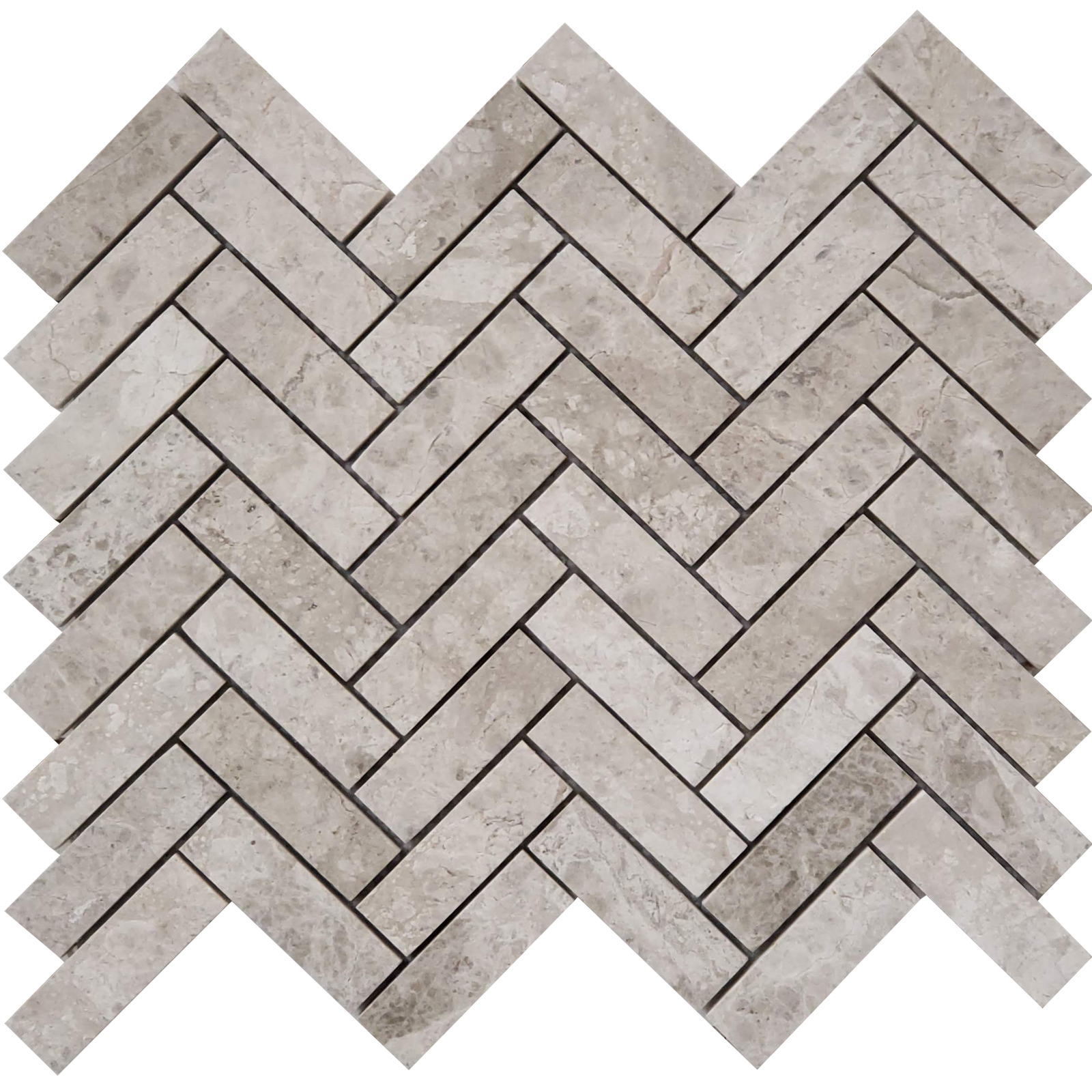 1x3 Herringbone Mosaic Silver Shadow Marble Polished