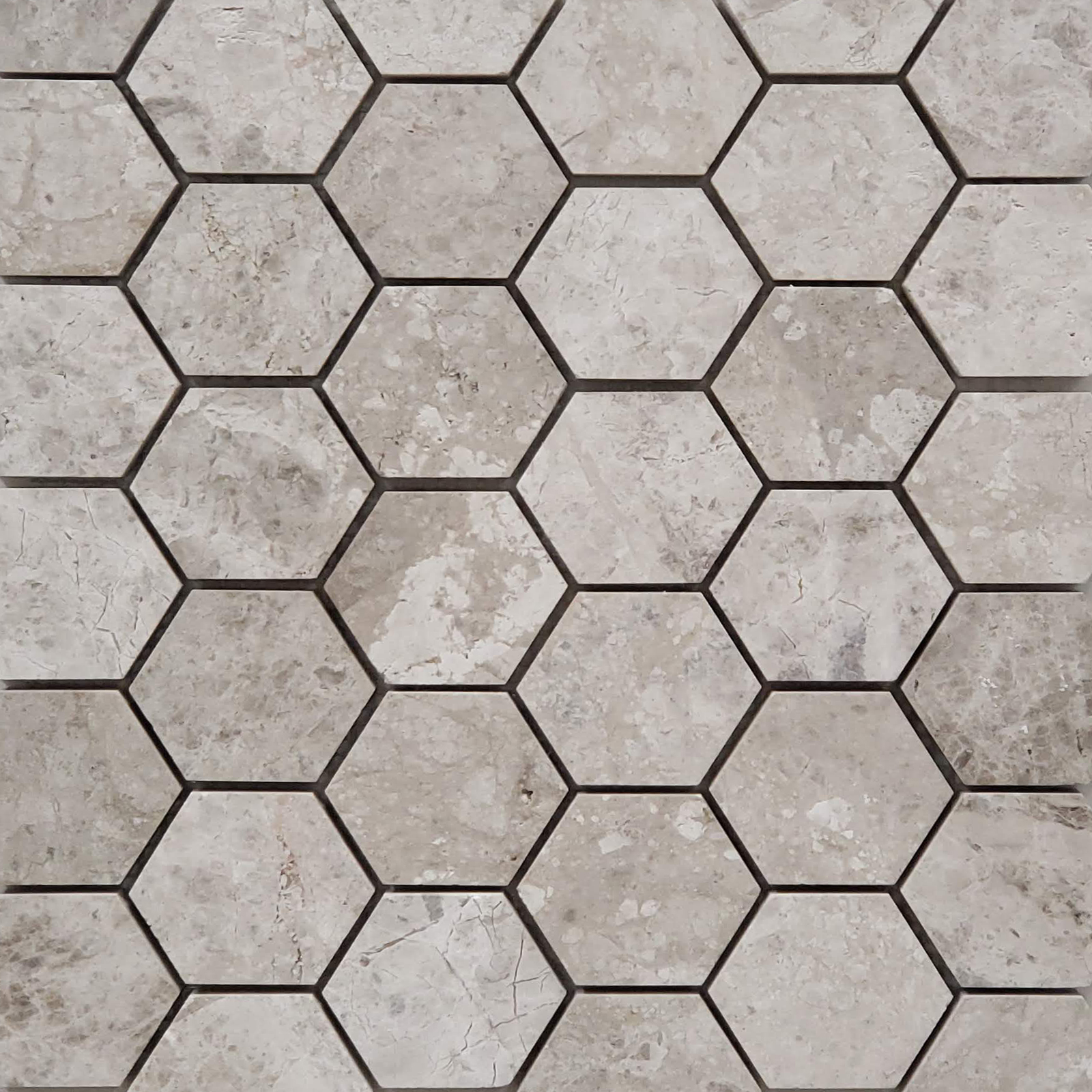 2 inch Hexagon Mosaic Silver Shadow Marble Polished