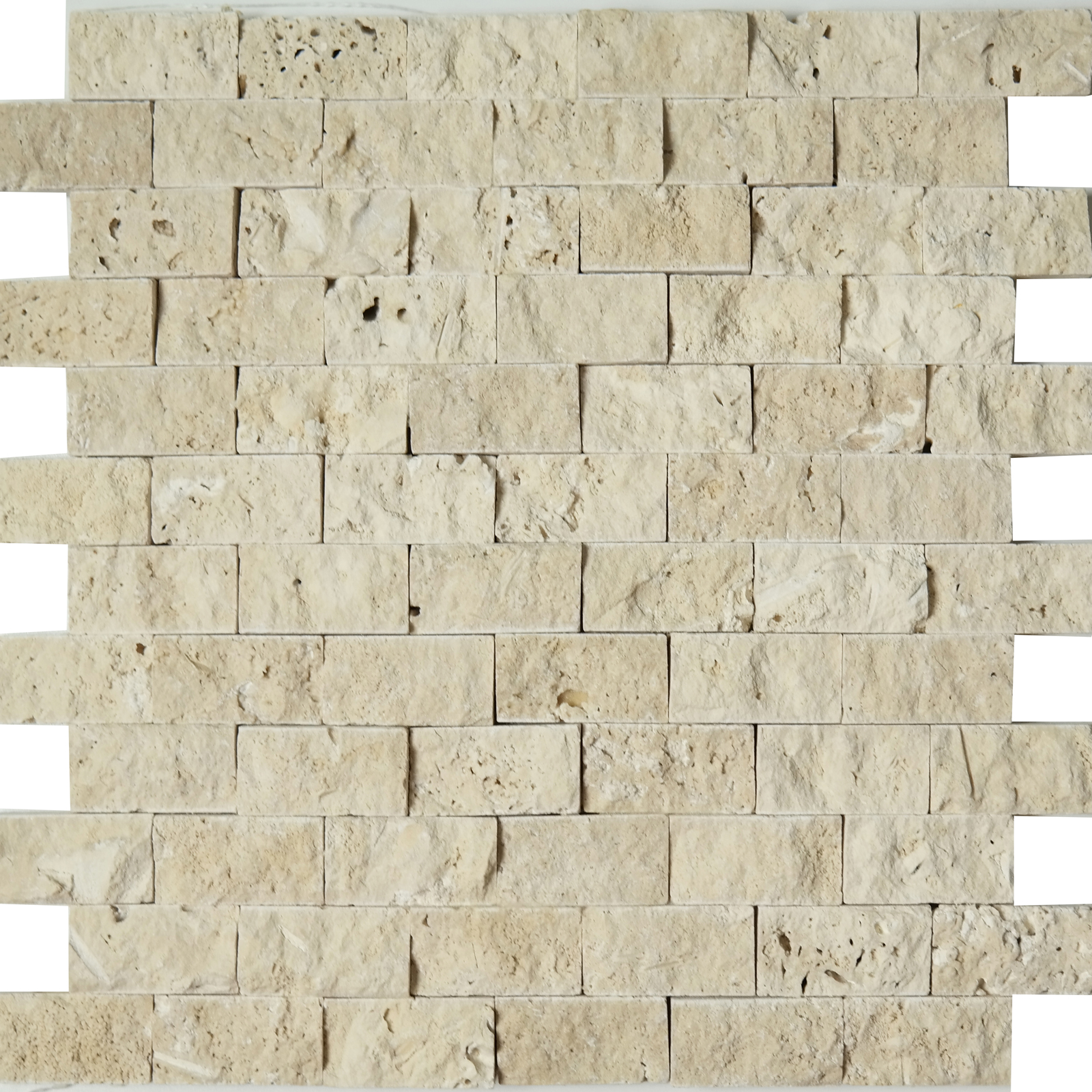 1x2 Split Face Mosaic Ivory Light Travertine
