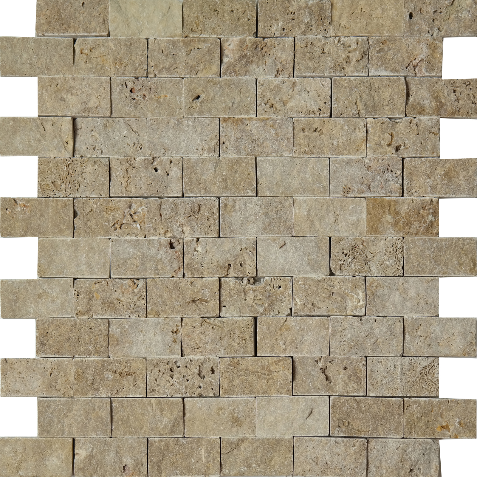 1x2 Split Face Mosaic Noche Travertine