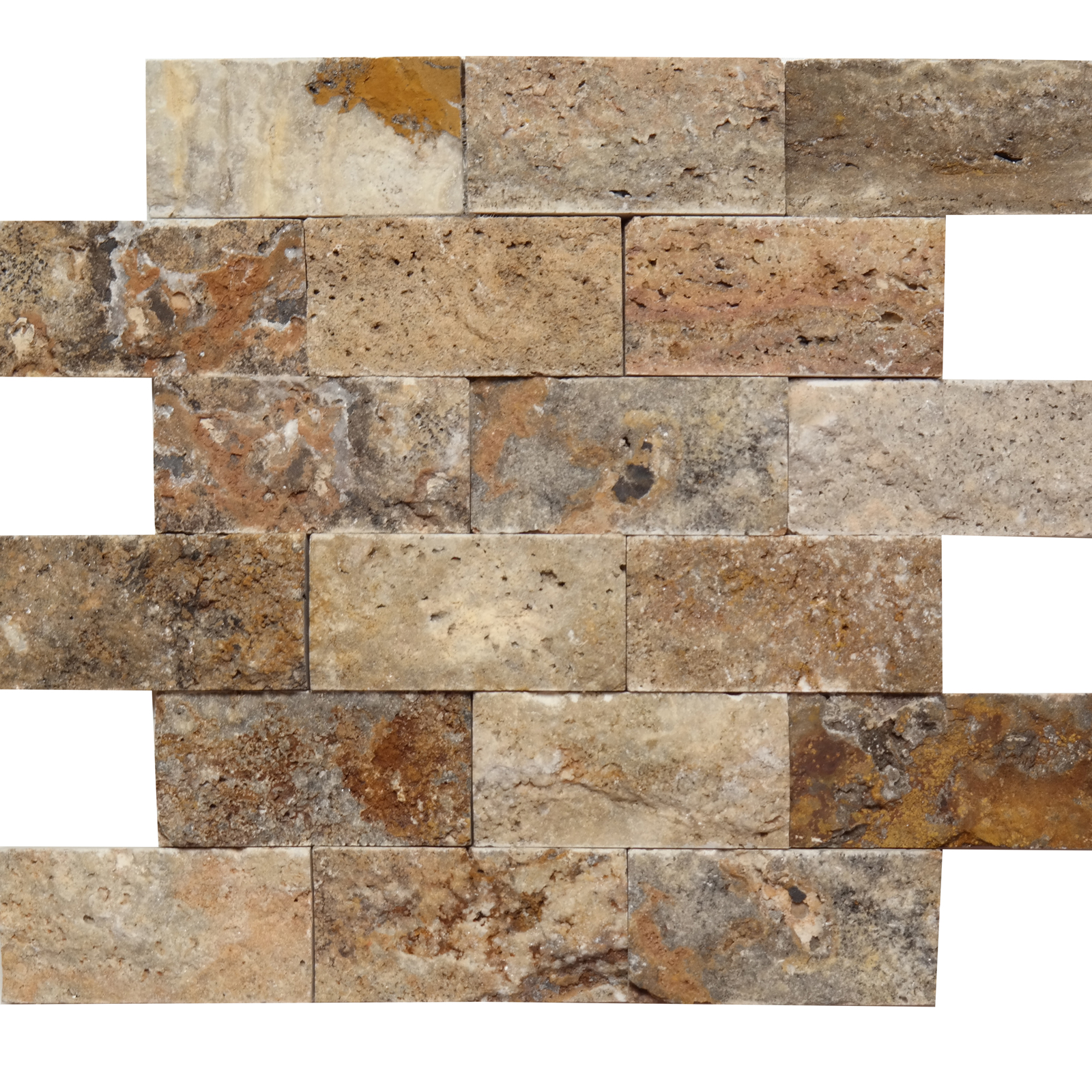 2x4 Split Face Mosaic Scabella Travertine