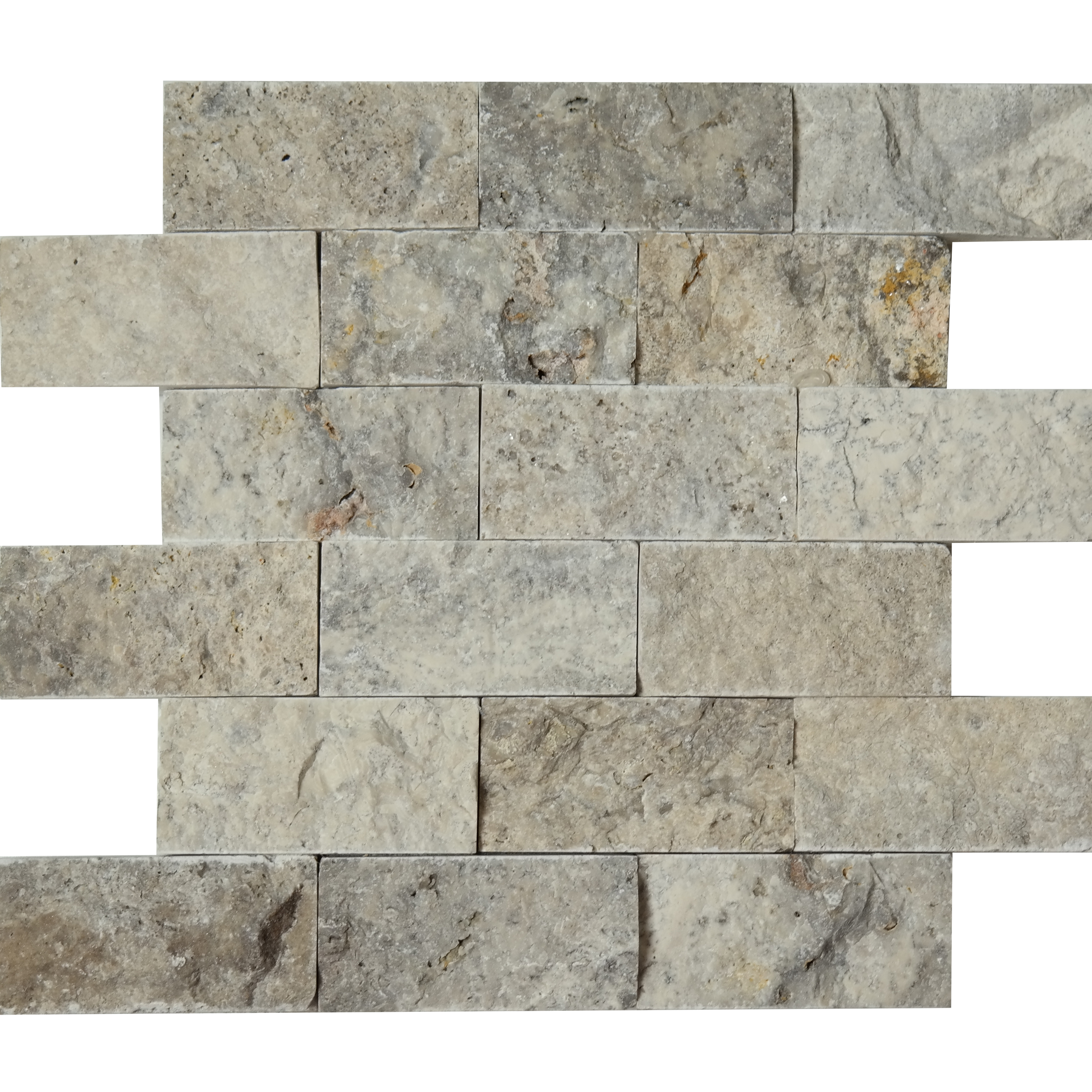 2x4 Split Face Mosaic Silver Travertine