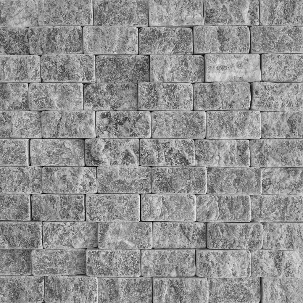 1x2 Split Face Mosaic Atlantic Grey Marble
