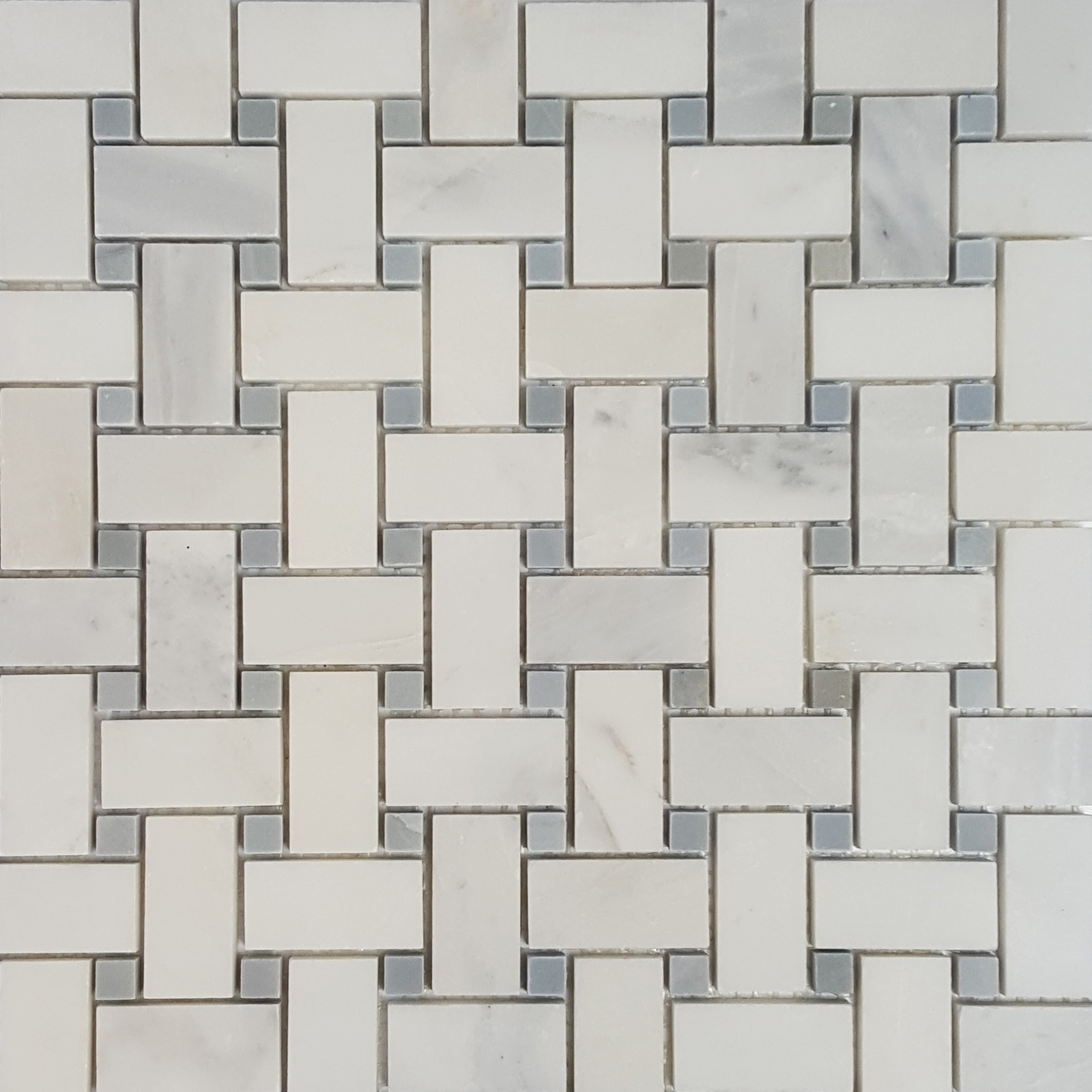 Basketweave Mosaic Statuary Carrara With Grey Dot Marble Polished